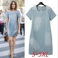maxi dress free shipping light blue dress Washed denim fashion  beaded loose bull-puncher large size dress with short sleeves