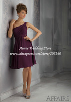 Modest One Shoulder Purple Brides Maid Dresses 2014 Plus Size MC079 Vestidos Para Madrinhas
