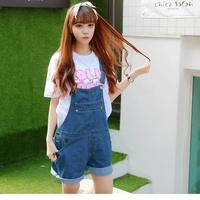 2014 free shipping spring summer women's jeans short design preppy  plus size loose denim suspenders shorts