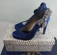 Satin cloth diamond rhinestone bow banquet women's shoes plus size women's shoes