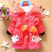 2014 New Arrival Baby Girls Winter Warm Outwear Jacket Hooded Warm Long Coat Drop Ship K8014