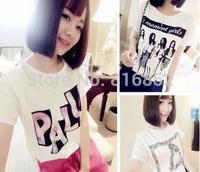 New 2014 loose Women T-shirt temperament Monroe head Fashion Beauty flowers letters A PALA  T Shirt