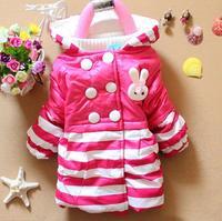 Baby Girls Warm Coat Winter Hooded Outwear Strip Style Coat Free Shipping K8017
