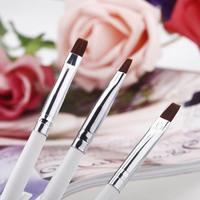 3pcs/Set DIY Professional Nail Art Design Painting Tool Pen Polish Brush Set White