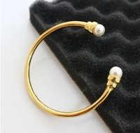 Europe And American Fashion Brand Simulated Pearl 18 k Gold Plated Cuff Bracelets Bangles For Women