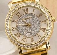 Girl's Geneva Brand Crystal stainless steel watch women ladies fashion Dress wrist watch