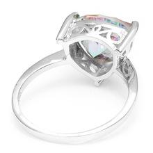 Triangle 4ct Genuine Rainbow Fire Mystic Topaz Solid 925 Sterling Silver Engagement Ring Sets Vintage Jewelry