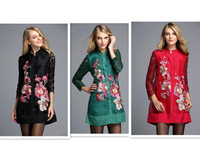 2014 Autumn Winter Women's Trench Coat Vintage Elegant  Flowers Hot Drilling Embroidery Long Outerwear Trench coat