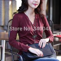 2014 autumn office ladies' formal t-shirt female plus size clothing V-neck slim 100% cotton long-sleeve T-shirt basic tees shirt