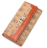 New Women Leather Wallet Bear Printing Long Purse Money Card Holder Clutch Clip free shipping