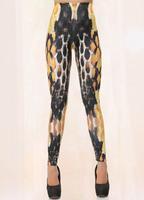 hot New 2014 Womens Orange Corselet Animal Print Leggings pants