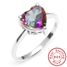 2014 Brand New Hot Sale 2.6ct Genuine Rainbow Fire Mystic Topaz Solid 925 Sterling Silver Ring Vintage Jewelry