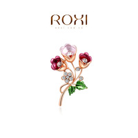 ROXI 2014 New Fashion Jewelry Rose Gold Plated Statement Elegant Colorful Tulip Brooches For Women Party Wedding Free Shipping