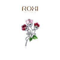ROXI 2014 New Fashion Jewelry Platinum Plated Statement Elegant Colorful Tulip Brooches For Women Party Wedding Free Shipping
