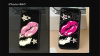 2014 New Fashion Sexy Kiss Lip Month Print Luminous Back Phone Case Cover For Iphone 5 5S 4 4S 11 Colors Free Shipping