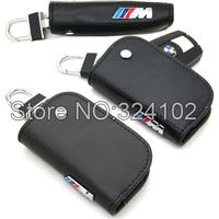 10pcs m3 Black Brown Leather Car Key Case Holder Keyring Key Chain with Box