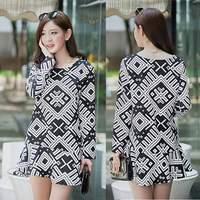 Vestidos Dresses New 2014 women Autumn Line dress printed long-sleeve Korea fashion girl casual dress plus size loose S-2XL