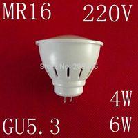 1piece/lot 220V MR16 GU5.3 LED lamps 4W 6W 5730SMD led lights cold white/warm white led bulb