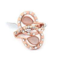 Free shipping!!!Zinc Alloy Finger Ring,new arrival, with Cats Eye, rose gold color plated, with rhinestone, nickel