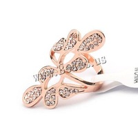 Free shipping!!!Zinc Alloy Finger Ring,Hot Selling, Flower, rose gold color plated, with rhinestone, nickel