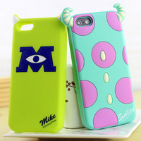 1pcs/lot 3D Micky&Minnie Mouse Mike Sulley Cartoon Animal Shadow Rubber Silicone Case For Apple iPhone 4 4S iPhone 5 5S