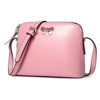 Hot sale women's handbag Lovely shoulder bags Genuine leather bow shoulder cross-body bag small candy color shell messenger bags