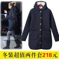 The disassemblability 2013 fashion vest liner twinset medium-long plaid cotton clothes casual coat female
