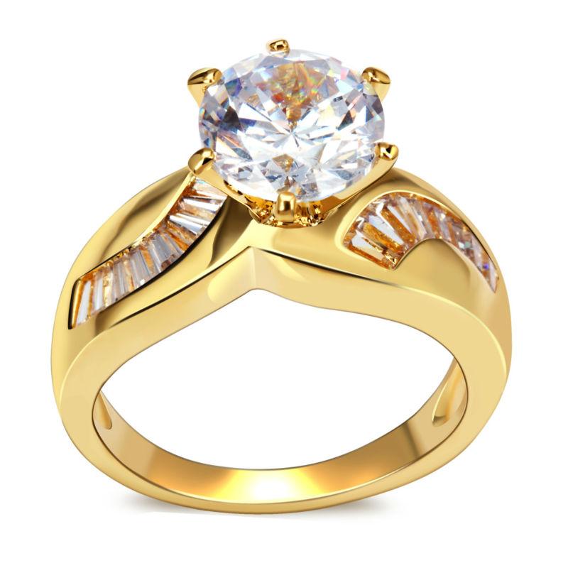 Toutes les saisons des femmes de luxe anneaux de mariage de qualité supérieure 8 mm 2 carats. principal zircon cubique sans plomb cadmium faible mariée. accessoires en laiton