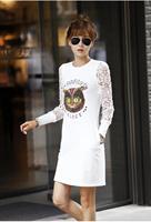 Vestidos Dresses New 2014 women summer cotton dress printed owl long-sleeve lace dress fashion girl casual dress plus size S-2XL