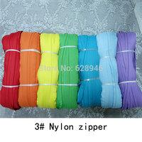 Wholesale 3 # nylon zipper  code equipment zip 130 / bundle yards (including 100 zipper head) free shipping