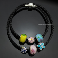 Murano Glass Rose Beads Pulseras 925 Silver Enamel Flowers & Butterfly Charms Leather Chain Wrap Bracelet + Gift Pouch PBS064