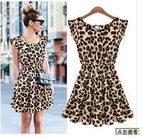 The European and American fashion Leopard grain dress