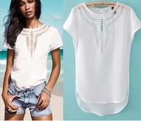 T shirt women Top casual 2014 new Tees Blouse fashion tops T-shirt Hot sales chiffon dress hollow laser engraving summer clothes