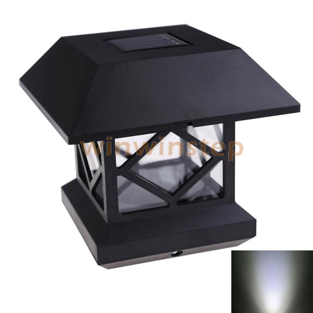 BS#S Solar Power Garden Post Deck Cap Fence LED Landscape Lamp White Light(China (Mainland))