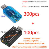 DHL Free Shipping to UK 300pcs 5.1 channel USB 2.0 Sound Card Audio Adapter + 100pcs 7.1 channel USB Sound Card  opp bag package