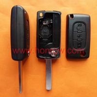 Citroen 307 blade 3 button flip remote key shell with light button ( VA2 Blade - 3Button -  Light - With battery place )