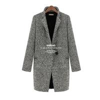 2014 woolen outerwear female winter plus velvet plus cotton wool thick overcoat suit houndstooth woolen