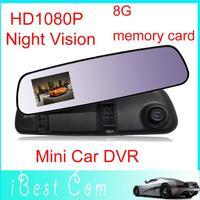 Night Vision 2.7inch LCD screen Release Rear View Mirror Camera HD 1080P mini Car DVR Video recorder motion detection G-sen gift
