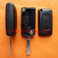 Citroen 307 blade 3 button flip remote key shell with light button ( VA2 Blade - 3Button - Light - No battery place )