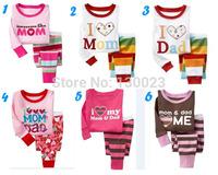 2014 New Baby Pijamas Kids Pajamas sets Children sleepwear I love mom i love dad design pyjamas for boys and girls clothing sets