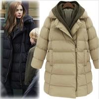 2013 winter medium-long down cotton wadded jacket plus size thickening women's cotton-padded jacket female