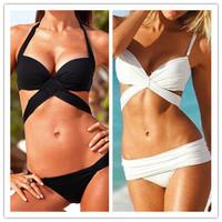 Free shipping 2014 Summer Vintage New Sexy Biquini Push UpWomen Bikinis Set Swimwear Swimsuit Halter Bandeau Padded Bra