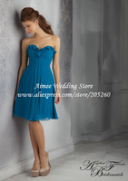 Elegant Sweetheart Blue Bridesmaid Dress 2014 Short  Chiffon Knee Lenth MC086