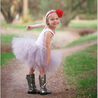 2014 New Design Sweet Gray Knee-Length Girl Tutu Skirt  With Flower Headband Fluffy Kids Tutu Skirt For Party Birthday Halloween