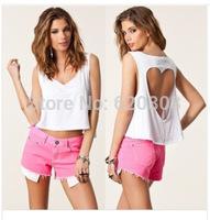 2014 cotton short paragraph midriff-baring halter vest hollow-shaped hollow sexy blouse short vest