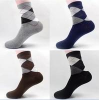 5pairs, 2014's new classic business men socks, free shipping, Four Seasons General diamond lattice cotton socks for men