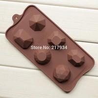 CF 6 Cavities Chocolate Mold Diamond Shape Ice Cube Tray Mold Silicone FDA Quality Free Shipping