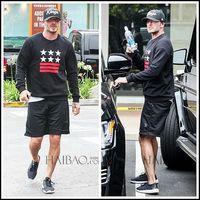 2014 New men sweatshirt black plus size pullover star pattern stripes hoodies Beckham style street sportswear M-XXL