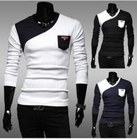 Classic men hitting scene render unlined upper garment long-sleeved v-neck T-shirt color matching cultivate one's morality