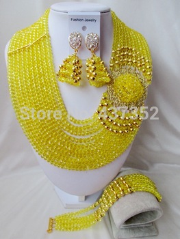 Splendid 2014 Желтый Crystal Costume NeckКружевоs Nigerian Свадьба African Beads ...